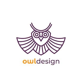 Logo de hibou dans la conception de la ligne, vecteur