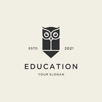 Logo de hibou d'éducation minimaliste avec un dessin au crayon