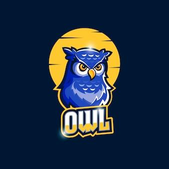 Logo de hibou esports avec lune à l'arrière-plan