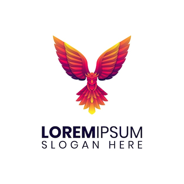 Logo de hibou volant coloré