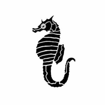 Logo hippocampe conception tatouage pochoir illustration vectorielle
