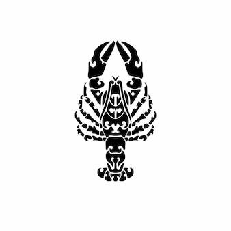 Logo homard tribal conception tatouage pochoir illustration vectorielle