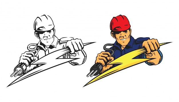 Logo de l'homme d'électricien