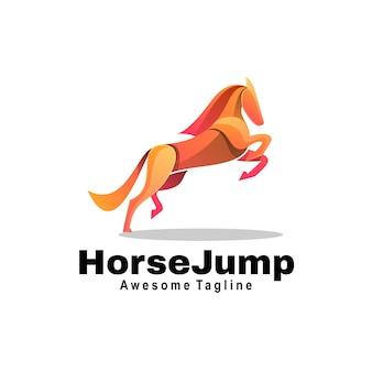 Logo horse jump gradient style coloré.