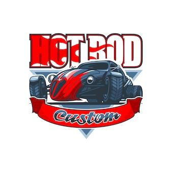 Logo hot rod avec une voiture ancienne et inscription personnalisée