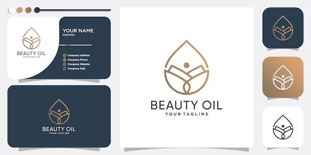 Logo d'huile de beauté avec fleur à l'intérieur vecteur premium