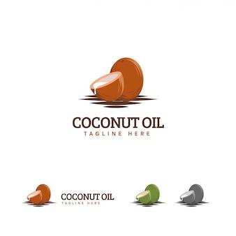 Logo de l'huile de coco, logo de la noix de coco brune