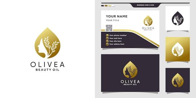 Logo d'huile d'olive de beauté avec la conception de visage de femme et de carte de visite