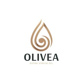 Logo d'huile d'olive de luxe goutte à goutte