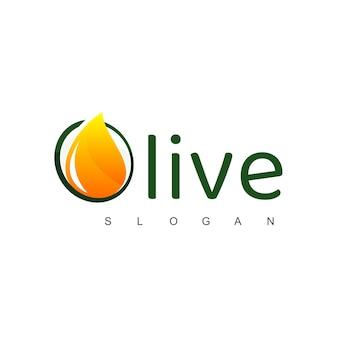 Logo d'huile d'olive avec symbole de gouttelette