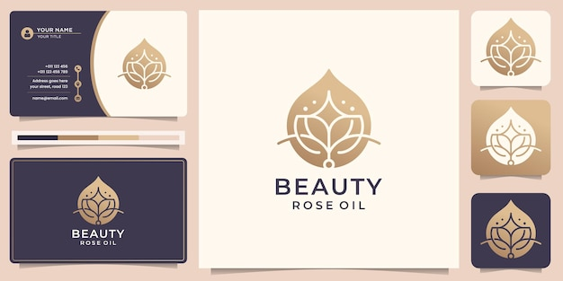 Logo d'huile de rose de beauté de luxe conception d'or d'huile essentielle de lotus de beauté avec modèle de carte de visite vecteur premium