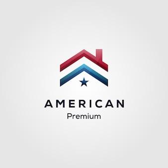 Logo hypothécaire maison drapeau américain