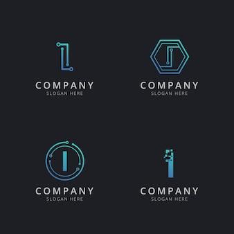 Logo i initial avec des éléments technologiques de couleur bleue