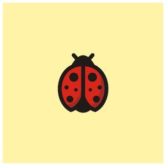 Logo d'icône clip art mignon coccinelle