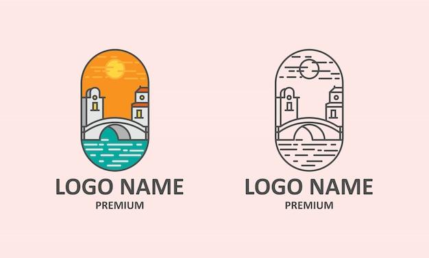 Logo de l'icône du coucher de soleil sur le pont