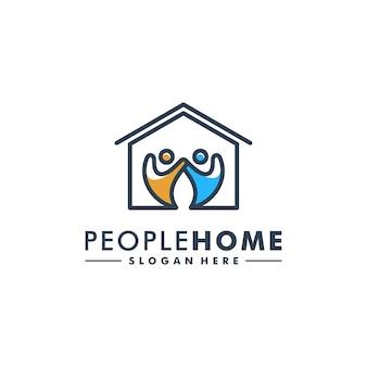 Logo de l'icône humaine du logo des gens à la maison