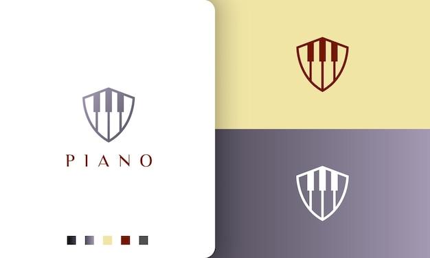 Logo ou icône de piano de bouclier dans un style simple et moderne