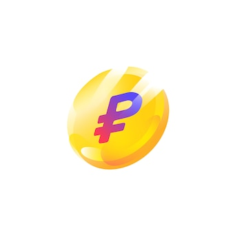 Logo, icône de la pièce avec un signe de rouble