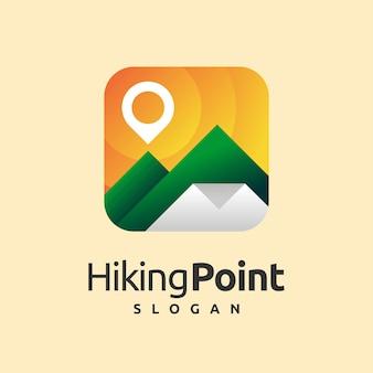 Logo d'icône de point de randonnée avec le concept de montagne