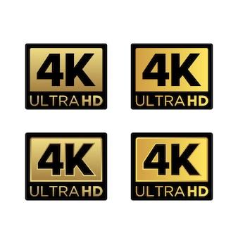 Logo d'icône de résolution vidéo 4k ultra hd doré