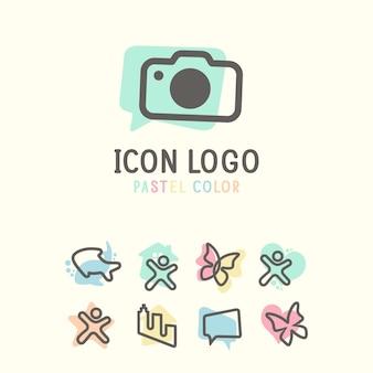 Logo icône sertie de concept de couleur pastel