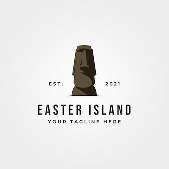 Logo d'icône de statue de moai