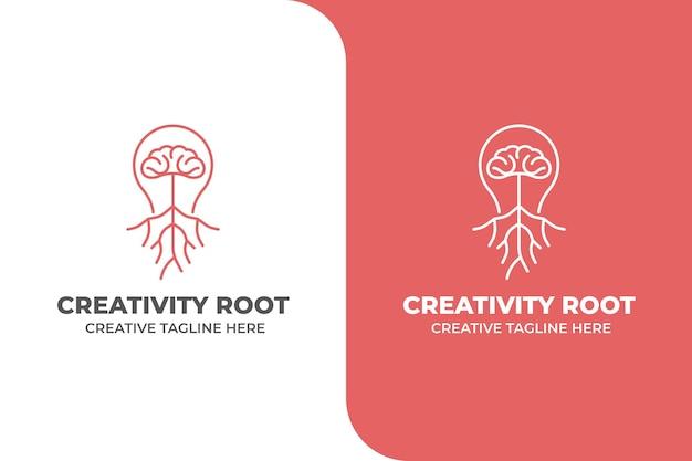 Logo d'idée de cerveau de racine de créativité