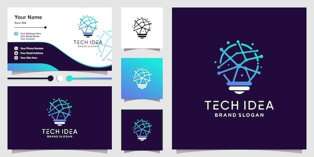 Logo d'idée de lampe avec un style de technologie créative