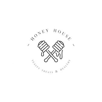 Logo illustartion et modèle ou badge. étiquette de miel biologique et écologique - bâton ou louche pour le miel. style linéaire.