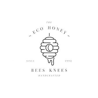 Logo illustartion et modèle ou badge. label miel bio et écologique - ruche. style linéaire.