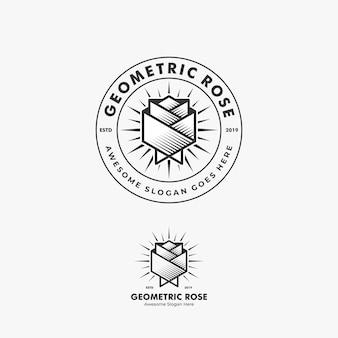 Logo illustration abstraite fleur rose forme géométrique en insigne avec style art en ligne
