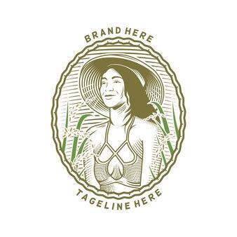 Logo d'illustration d'agriculteur de jeune femme avec l'usine de blé à la ferme
