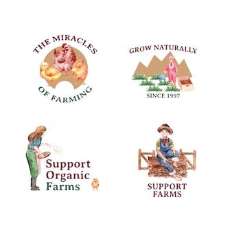 Logo avec illustration aquarelle de conception de concept de ferme biologique.