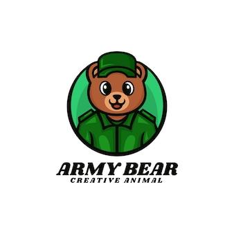 Logo illustration armée ours mascotte dans style dessin animé