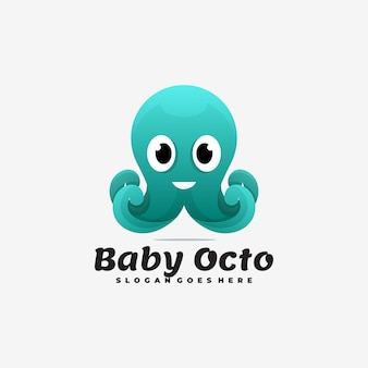 Logo illustration bébé octopus gradient style coloré.