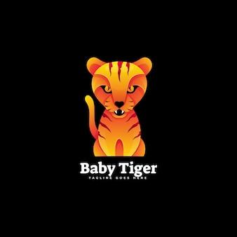 Logo illustration bébé tigre gradient style coloré.