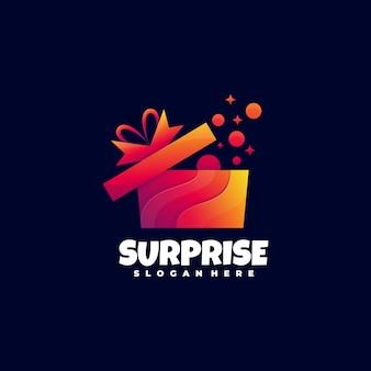 Logo illustration boîte-cadeau gradient style coloré.