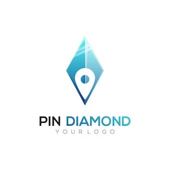 Logo illustration broche diamant style coloré dégradé