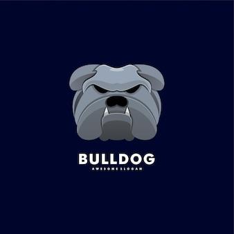 Logo Illustration Bulldog Head Style Coloré. Vecteur Premium