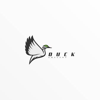 Logo illustration canard flying line art style