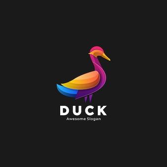 Logo illustration canard style dégradé élégant coloré