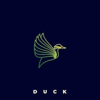 Logo illustration canard volant dégradé coloré