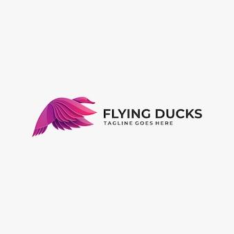 Logo illustration canard volant dégradé style coloré