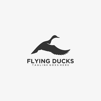 Logo illustration canard volant silhouette style