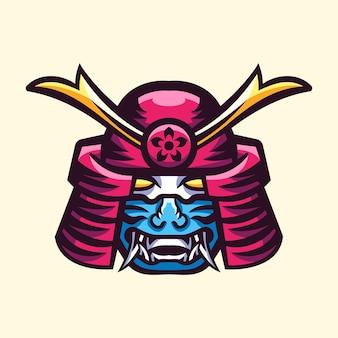 Logo d'illustration de casque de samouraï japonais kabuto