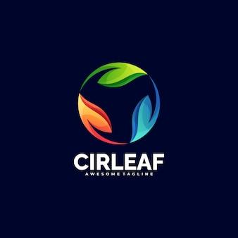 Logo illustration cercle feuille gradient style coloré.
