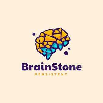 Logo illustration cerveau pierre style mascotte simple