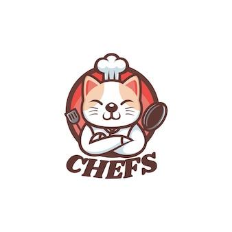 Logo illustration chef chat mascotte dans style dessin animé