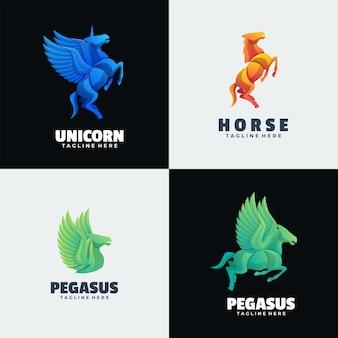 Logo illustration cheval dégradé style coloré.