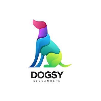Logo illustration chien dégradé coloré